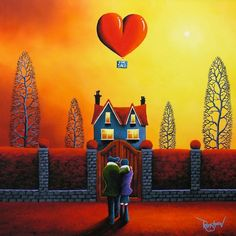'Love Nest' ~ by David Renshaw Art Precious Moments, Local Art Galleries, Romantic Paintings, Cartoon Art Styles, Couple Art, Pretty Art, Illustration, Folk Art, Disney