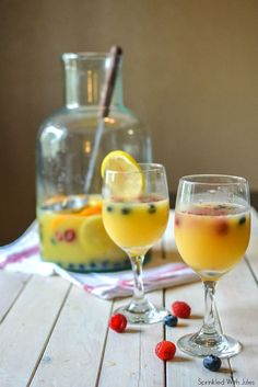 The easiest to prepare, this Mimosa Sangria will be the spotlight at your  New Year's party!  I can't wait to make this for future bridal showers, brunches, and New  Year's parties. All it takes is a few minutes of prep the night before, and  you have the most delicious bubbly sangria the next day