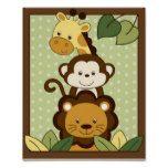 Safari-Dschungel-TierKinderzimmer-Wand-Kunst-Druck Posterdrucke