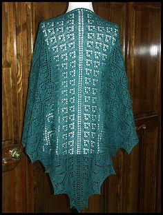 """Persephone"" knit lace shawl in wool fingering weight yarn (pattern by Renee Leverington)"