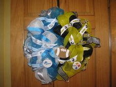 House Divided Wreath: Lions/Steelers - made with deco mesh, ribbon & assorted deco.