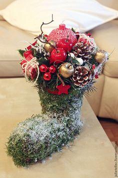 Купить Новогодний сапожок - ярко-красный, новогодняя композиция, Новый Год…
