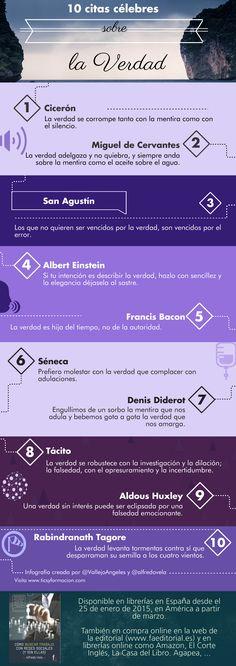 Hola: Una infografía con 10 citas célebres sobre la verdad. Un saludo   Via http://ticsyformacion.com/2015/01/28/