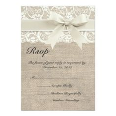 Ivory Lace Ribbon and Burlap Wedding RSVP Card Personalized Announcements