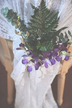 Bride's bouquet: purple orchids and ferns. Relaxed, pretty, and unique   The McGarity House   Six Hearts Photography