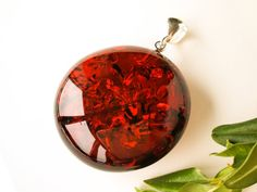 Silver Amber Pendant Baltic Amber-Decorative Cherry Amber Pendant Cherry