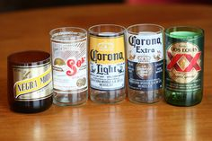 Make your own glasses out of beer bottles. Recycling at its best.