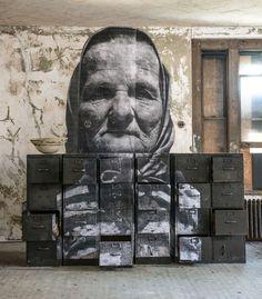 Unframed – Ellis Island by JR Photo Gallery. Photo gallery of JR's work on Ellis Island. Ellis Island, Banksy, Ai Weiwei, Island Hospital, L'art Du Portrait, Ville New York, Urbane Kunst, Haunting Photos, Jr Art