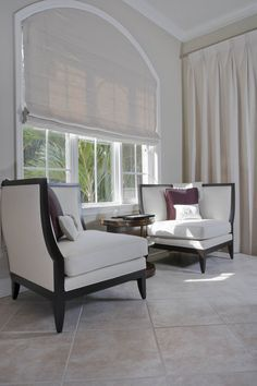 Custom roman shade for arched window | Curtain Call Creations