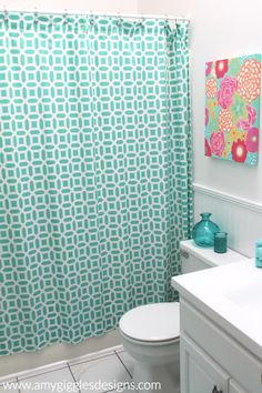 Preppy Girly Bathroom Renovation based on the Pottery Barn Teen Peyton Collection www.amygigglesdesigns.com