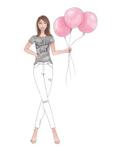Birthday Girl Fashion Illustration Print by KellyPearceDesigns