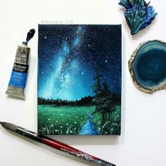 Landscape Painting Milky Way Space Art Oil Paintin. Landscape Painting Milky Way Space Art Oil Painting Galaxy Painting, Galaxy Art, Painting Inspiration, Art Inspo, Oil Painting Background, Mini Canvas Art, Guache, Painting & Drawing, Painting Videos