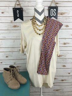 LulaRoe Irma and patterned leggings outfit by LulaRoe Amy Hatchett