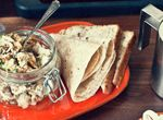 What Katie Ate: Healthy and Quick Weekday Office Lunch Ideas - Wholemeal wrap with poached chicken, lemon, walnut and tarragon yoghurt mayo Yummy Chicken Recipes, Yummy Food, Yummy Yummy, Burritos, What Katie Ate, Tapas, Ways To Cook Chicken, Poached Chicken, Lunch To Go