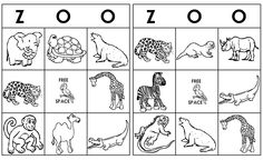 Letter Z = Zoo. We played Zoo Animal Bingo!