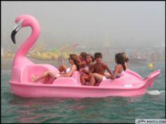 Pink flamingo paddle boat