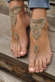Khaki Triangle Floral Crochet Barefoot Sandals