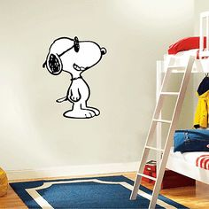 "Snoopy Standing Cartoon Kids Wall Decor Sticker Decal 20"" x 25"""