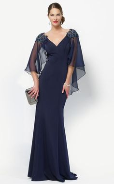 Alyce Black Label 27170 Beautiful and classy chiffon gown with a v neckline, flowy sleeves with an embellished shoulder running throughout the back. Best Prom Dresses, Mob Dresses, Fashion Dresses, Bridesmaid Dresses, Halter Dresses, Dressy Dresses, Lace Dresses, Glamorous Evening Gowns, Evening Dresses