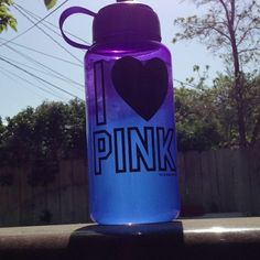 ..drinking from cute water bottles <3