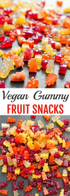 Vegan Gummy Fruit Snacks. Easy to make with just 2 ingredients.