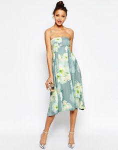 Image 4 ofASOS TALL SALON Soft Bandeau Midi Dress in Floral Print