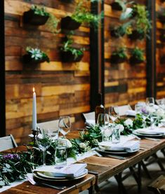 plant wall reception room | Modern rustic Brooklyn Winery wedding