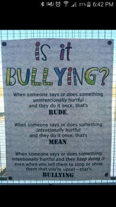 Is it bullying? Classroom poster on the difference between being rude, mean and bullying for children