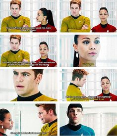 """This was my favorite exchange right up until Kirk lay dying."" Disagree...best was, ""Is this going  to be a problem? You two working together?"" Uhura: ""Absolutely not!"" *stalks off* Spock (taken aback): ""...Unclear."""