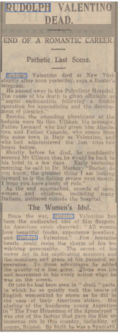 'Rudolph Valentino Died' article in an unknown magazine, August 1926.