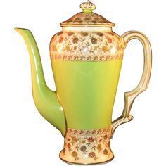 "Rare Royal Worcester Teapot Gold Trim, Green, Floral Tea Pot marked ca.1892 - MINT - 7 1/4"""