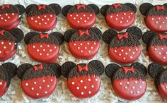 Red Minnie Mouse Birthday Party Oreo Cookies TheIcedSugarCookie.com Baked Lovely