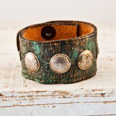 Gypsy Boho Jewelry Leather Cuff Bracelet Metal Patina by rainwheel, $49.75