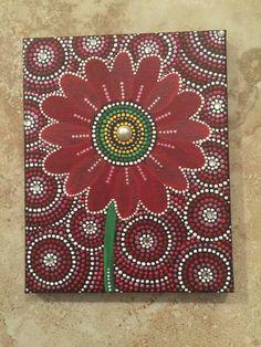 Radiant 8x10 inches dot art mandala flower dot