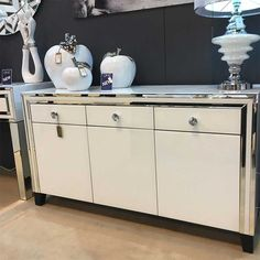 Dubai White Mirrored Large Sideboard