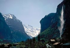 Valley of Lauterbrunnen, Switzerland. The extremely steep valley sides result in impressive waterfalls, such as Staubbachfall. Photo J. Gcse Geography, Switzerland, Mount Everest, Art Photography, Beautiful Places, Aqua, Mountains, Waterfalls, Rivers
