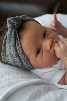 So cute!! Totally just bought one of these! Baby Girl Infant Knotted Headband Turban by MAMAOWLSHOP on Etsy