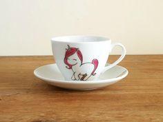 Unicorn teacup and rainbow saucer, Unicorn Lady  Mug, Illustrated Unicorn Mug, unicorn coffee mug, gift for her, christmas gift for her by vitaminaeu on Etsy https://www.etsy.com/au/listing/164391663/unicorn-teacup-and-rainbow-saucer