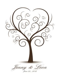 DIY Wedding Tree Guest Book - Printable PDF - Digital Curly Fingerprint Signature Tree 16x20, 17x22, 18x24 or 20x25 inches. $18.00, via Etsy.