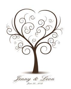 DIY Wedding Tree Guest Book - Printable PDF - Digital Curly Fingerprint Signature Tree 16x20, 17x22, 18x24 or 20x25 inches. $18.00, via Etsy.