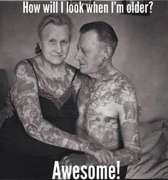 """For those that always ask me """"what do you think your going to look like when your old with all those tattoos"""" well here ya go! I think they look great still! Tattoos are my marks on different parts of my life! They each have a story behind them! Tatoo Art, Body Art Tattoos, I Tattoo, Tatoos, Old Lady Tattoo, Blog Tattoo, Tattoo Shop, Tattoo Regret, Pair Tattoos"""