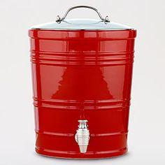 red barrel beverage dispenser.
