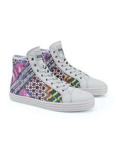 #HOGANREBEL Women's Spring - Summer 2013 #collection: leather High-Top #sneakers R141 with multi-colour patchwork print.