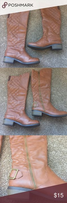 Arizona Jean Co. tan knee high boots 8.5 Arizona Jean Co. tan knee high boots 8.5. There are some scuffs on the toe of the boots. Please ask for more pics if in doubt.  All offers considered 💕 Arizona Jean Company Shoes