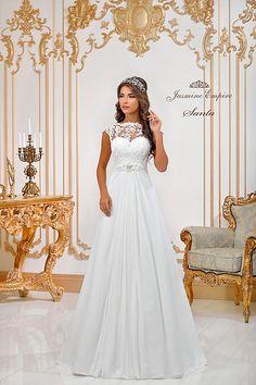 Azalia wedding dress by Jasmine Empire wedding brand. Only Italian fabrics, natural pearls, SWAROVSKI stones Real Queens, Swarovski Stones, Beautiful Bride, Put On, Jasmine, Empire, Flower Girl Dresses, Wedding Dresses, Model
