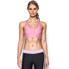 Under Armour Women's Armour Mid Sports Bra ($25) ❤ liked on Polyvore featuring activewear, sports bras, pink, under armour pullover, under armour sports bra, pink sports bra, under armour sportswear and pink pullover