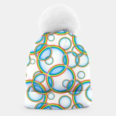Rainbow Circles on White Gorro