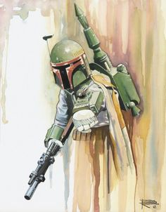 This is definitely a watercolor Boba Fett.