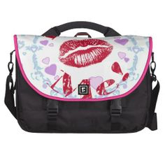 Kiss Me! Red Lips With Hearts Laptop Bag   •   This design is available on t-shirts, hats, mugs, buttons, key chains and much more   •   Please check out our others designs at: www.zazzle.com/ZuzusFunHouse*