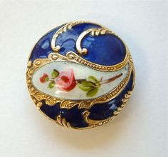 One x 22mm Antique Champlevé French Enamel Button, Cobalt Blue With Pink Roses